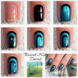 Peacock nail design art gallery step by tutorial photos