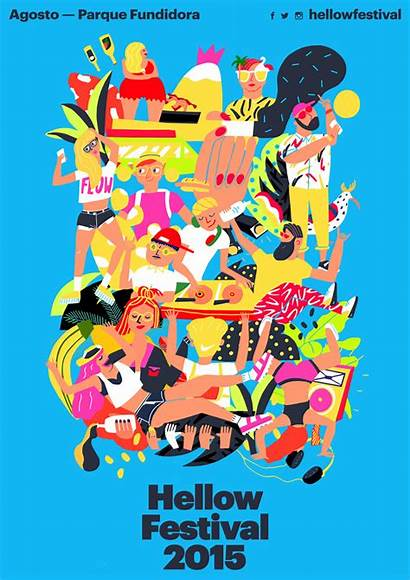 Festival Illustration Poster Hellow Mexico Illustrations Cachetejack