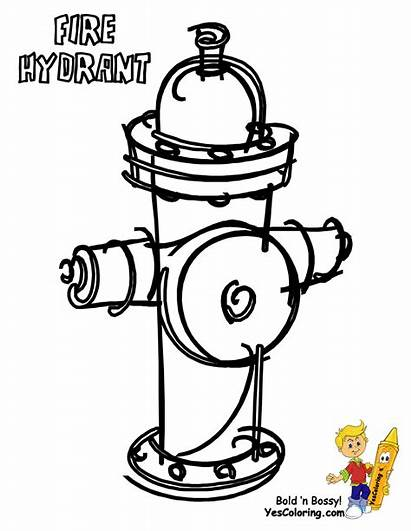 Fire Coloring Pages Hydrant Truck Transportation Colouring