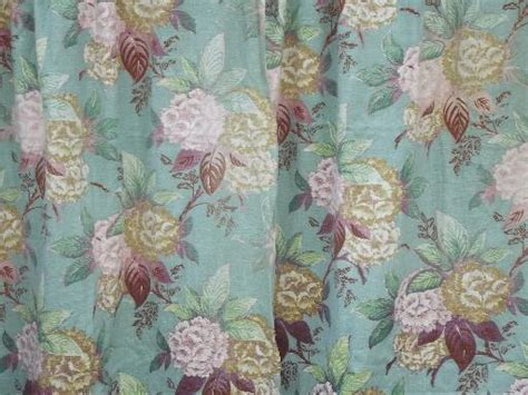 Vintage Barkcloth Fabric Lot Of Old Curtains, Shabby