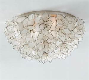 capiz oversized flushmount pottery barn With kitchen cabinets lowes with capiz wall art crystal formation
