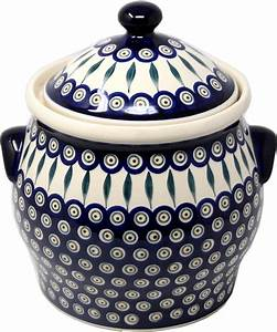 Extra, Large, 6, Quart, Polish, Pottery, Cookie, Jar, Canister, In, Peacock, Pattern, From, Zaklady