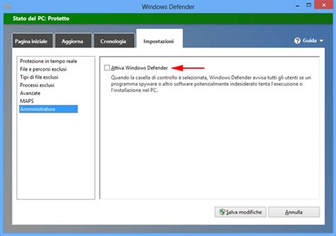 si e social microsoft disattivare l 39 antivirus windows defender di windows 8
