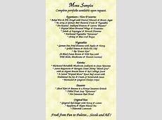 4+ menu samples Procedure Template Sample