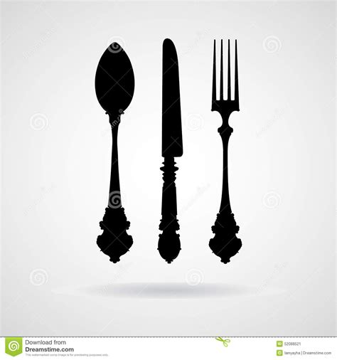 antique kitchen knives fork spoon knife vector and icon eps10 stock vector