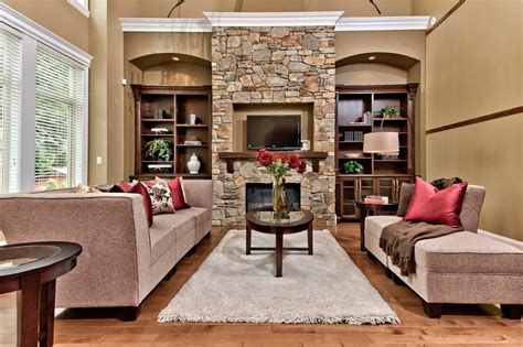 lennox stone living room traditional  fireplace tufted
