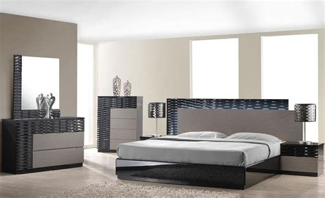 roma black  grey lacquer platform bedroom set  jm