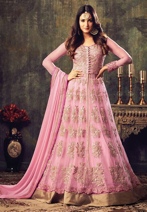 embroidered net abaya style suit  baby pink kch