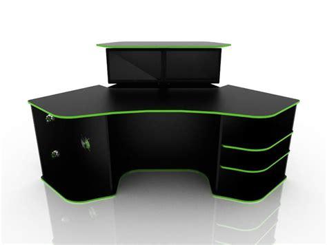 Corner Computer Desk For Gaming Black Color With Green