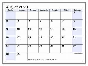 August 2020 Calendars Ss Michel Zbinden En