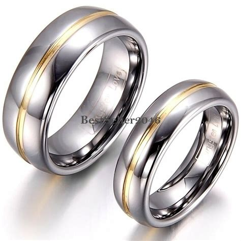 8mm 6mm gold tone center silver tungsten carbide ring