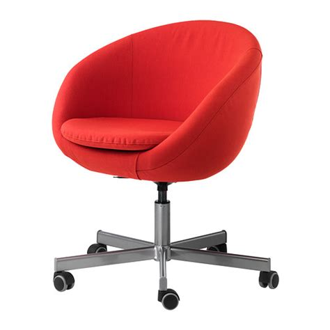 skruvsta swivel chair vissle red orange ikea