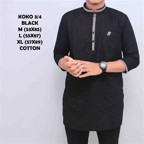 price checker kemeja koko pakistan baju gamis muslim baju qurta pria lengan 3 4 hitam list