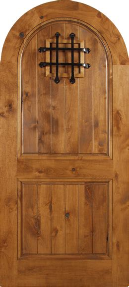agustin spanish solid rustic knotty alder wood arch door