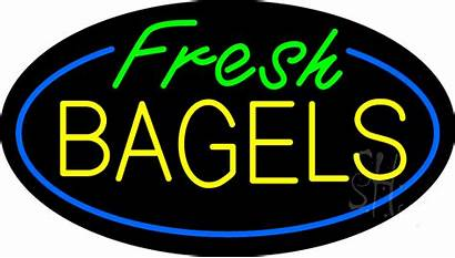 Neon Sign Bagels Fresh Animated Oval Signs