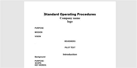 Standard Will Template Free by 20 Free Sop Templates To Make Recording Processes