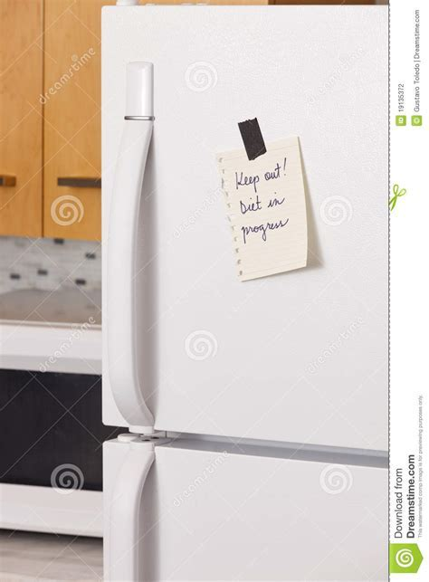 Note on refrigerator door stock photo. Image of phrase