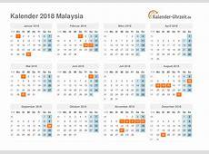 Feiertage 2018 Malaysia Kalender & Übersicht