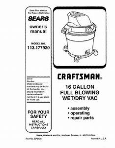 Craftsman 113177920 User Manual 16 Wet  Dry Vac Manuals And