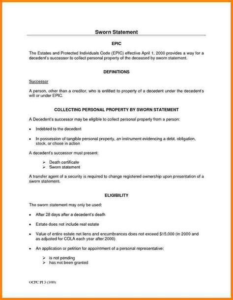 sworn statement template 3 sle letter of sworn statement statement 2017