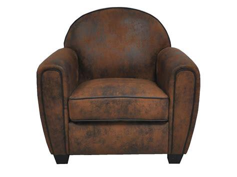 fauteuil club en microfibre marron vieilli jeff