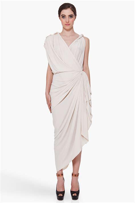 Lanvin Draped Dress - lanvin ivory tone drape dress in white ivory lyst