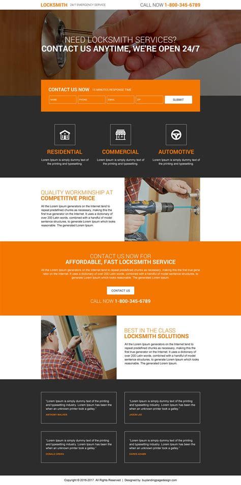 website design ideas locksmith service lead form premium landing page design if