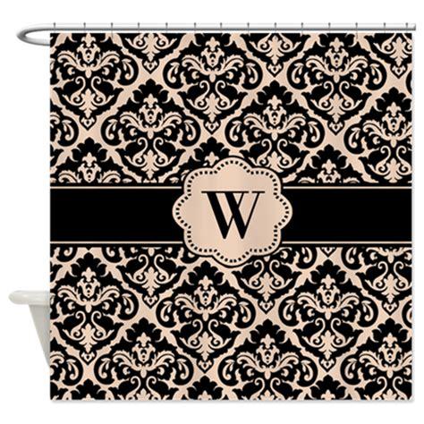 black damask monogram shower curtain by