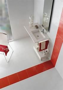 idees carrelage salle de bains en 26 photos fantastiques With salle de bain rouge et blanche