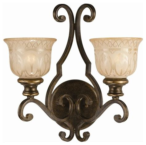 2 lights wrought iron wall sconce with glass pattern