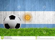 Soccer Ball On Grass With Argentina Flag Royalty Free