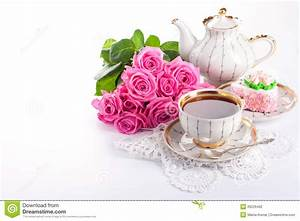 Ð¡up of tea and roses stock photo. Image of love, party ...