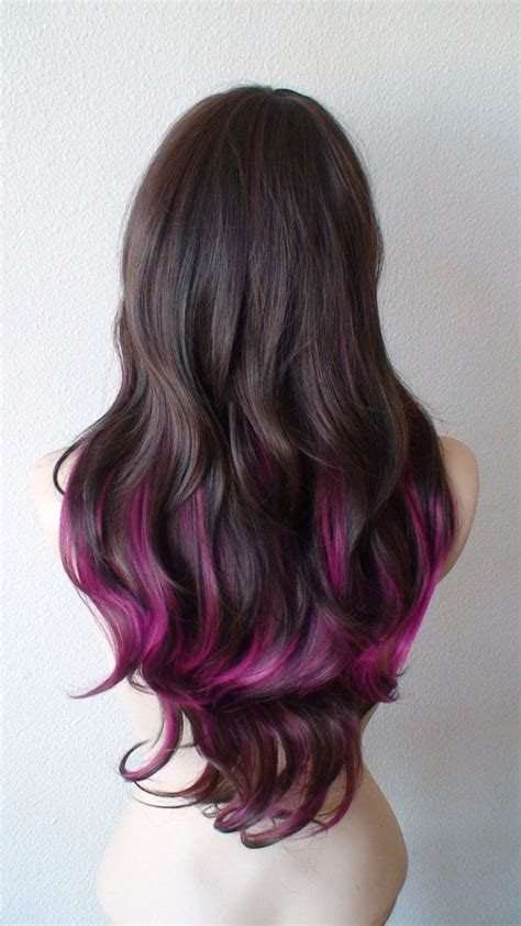 Love This Brown Pink Hair Long Wavy Hairstyle Wig