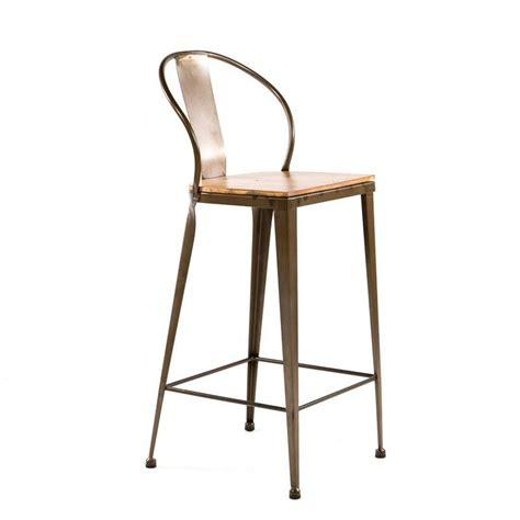 tabouret de bar schmidt tabouret industriel en m 233 tal et bois tb 317 4 pieds tables chaises et tabourets