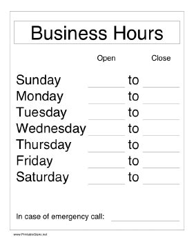 business hours template printable business hours sign