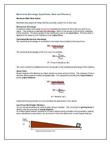 mechanical advantage and efficiency worksheet answer key briefencounters worksheet template