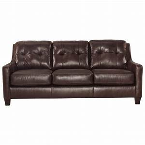 Contemporary leather match queen sofa sleeper by signature for Ashley leather sofa