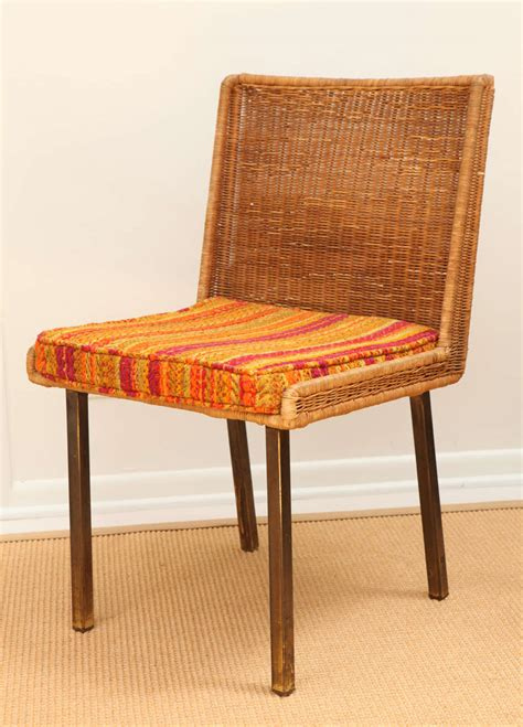six rattan chairs with striped cushions at 1stdibs