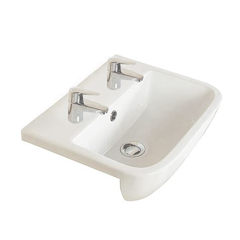 series  semi recessed basin  tap holes