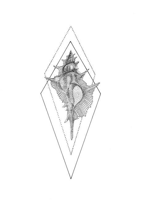 Dotwork shell Tattoo Design, Pen on Paper, Original Design Made by Kariaki | tatto | Tatuajes