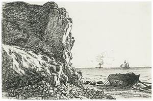 Cliffs And Sea Sainte-adresse Drawing by Claude Monet