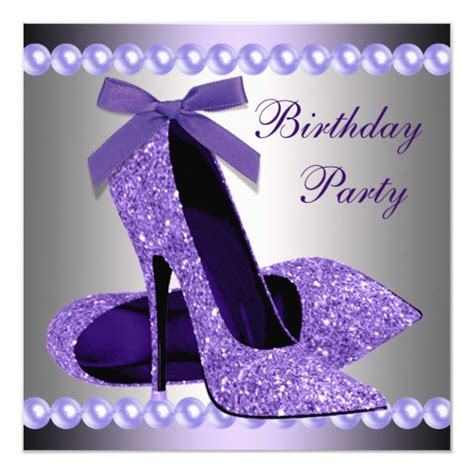 glitter pearls purple high heels shoes birthday card zazzle