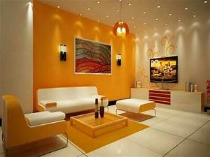 Room wall colour selection : Wall color combinations orange white furniture http