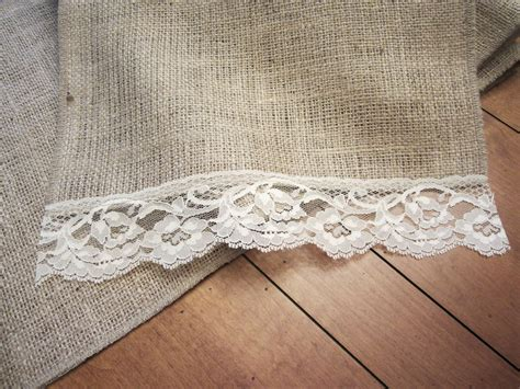 burlap table runner with lace burlap vintage lace table runner 60
