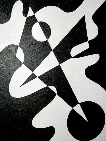 Abstract Modern Shapes by Black White Geometric Abstract Shape Painting By