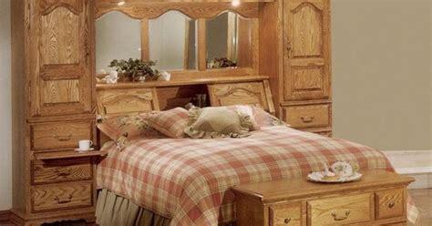 cedar lined red oak wood mirrored bed headboard storage