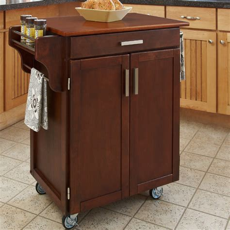 overstock kitchen island cart cherry finish oak top cuisine cart contemporary 3909