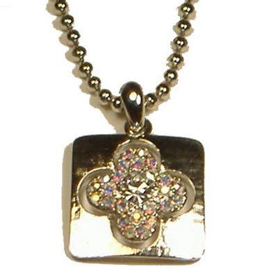 silver plated crystal cross necklace jn