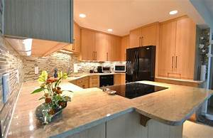 Natural Oak Cabinets Kitchen Contemporary With Angles Big