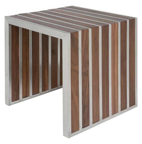 Holden Stainless Steel Walnut Wood Slatted Modern Side Table